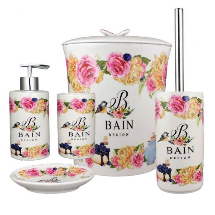 Kit Banheiro Porcelana Porta Sabonete Escova Lixeira Bain Design 5 Pçs
