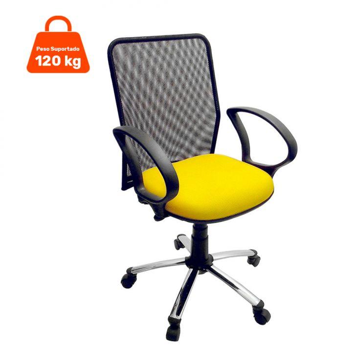 Cadeira de Escritório Tela Diretor Giratória Cromada e Amarela