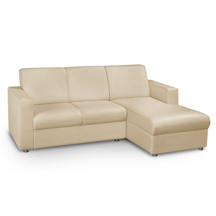 7f7aaffb2 Sofa 3 Lugares Com Chaise Direita Roma Corino Bege