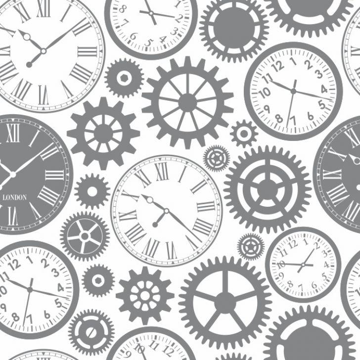 0680944a596 Papel De Parede Relógio E Engrenagens Para Sala Escritório Modelo 1