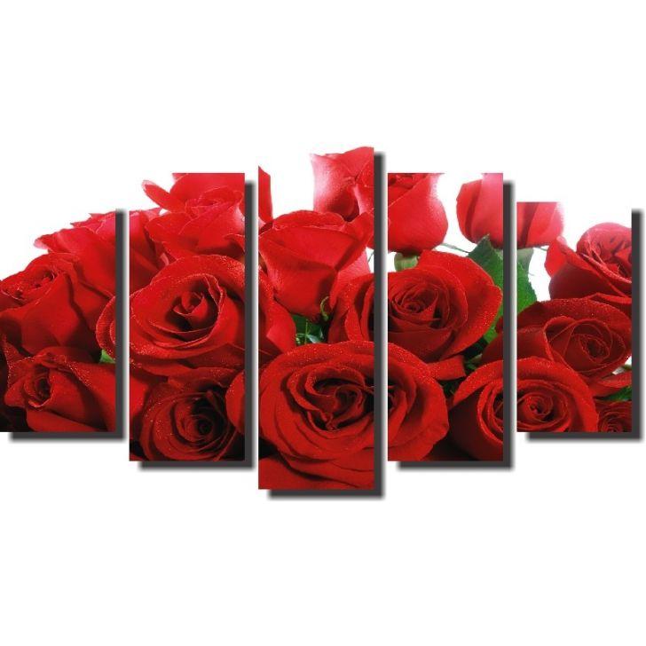cced15689 Quadro Decorativo Rosas Vermelhas Buquê 5 Peças