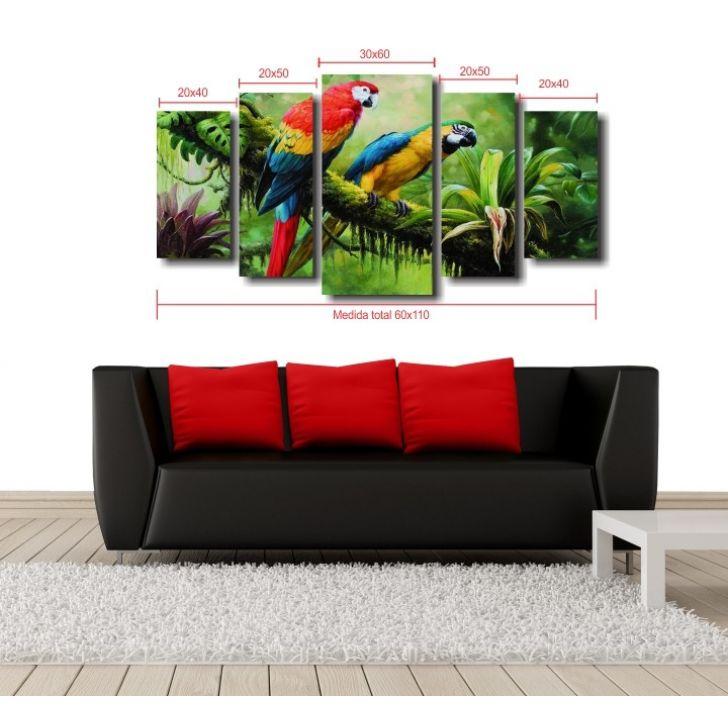 fb22200cc Quadro Decorativos Paisagem Casal De Araras Para Sala 5 Peças