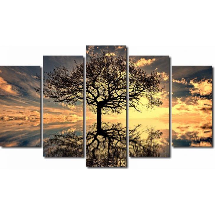 8a0f2586f Quadros Decorativos Arvore da Vida para Sala 5 peças