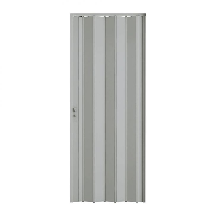 Porta Sanfonada Com Fechadura Cinza 096X210