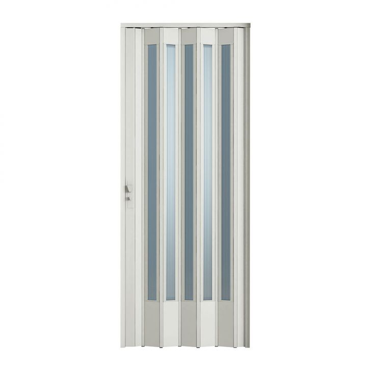 Porta Sanfonada Translucida Com Fechadura Branca 096X210