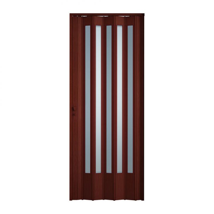 Porta Sanfonada Translucida Com Fechadura Mogno 060X210
