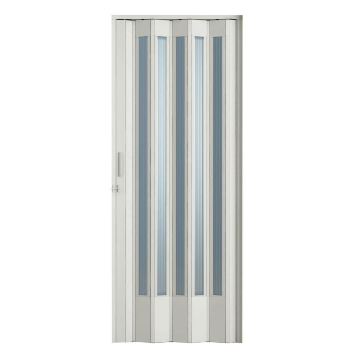Porta Sanfonada Translucida Com Trinco Branca 084X210