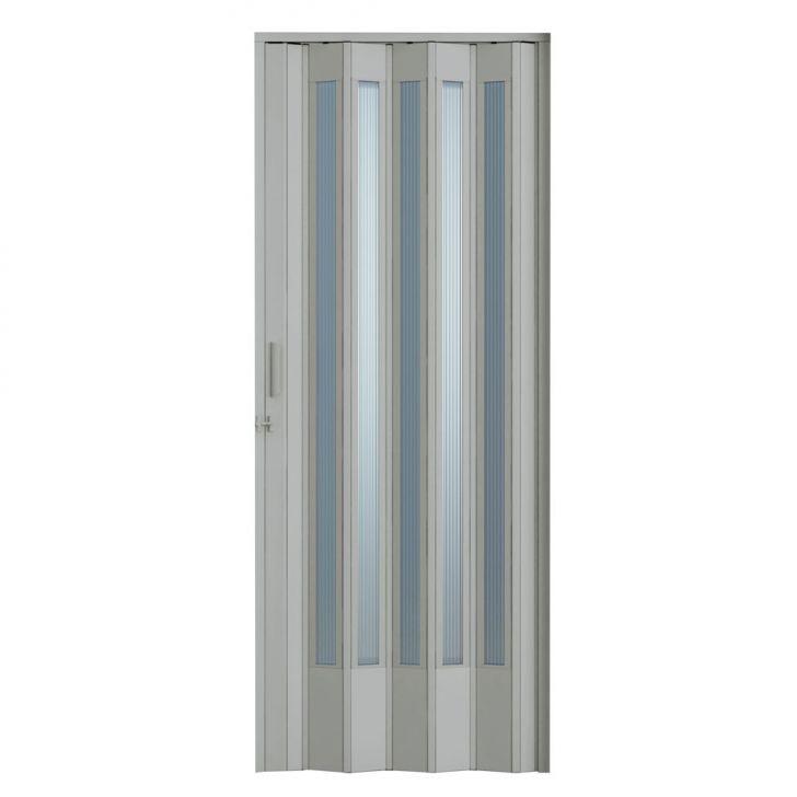 Porta Sanfonada Translucida Com Trinco Cinza 096X210
