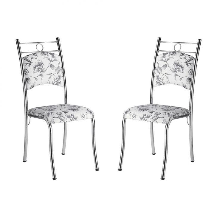 Conjunto 2 Cadeiras Ca-100 Corino Damasco Branco
