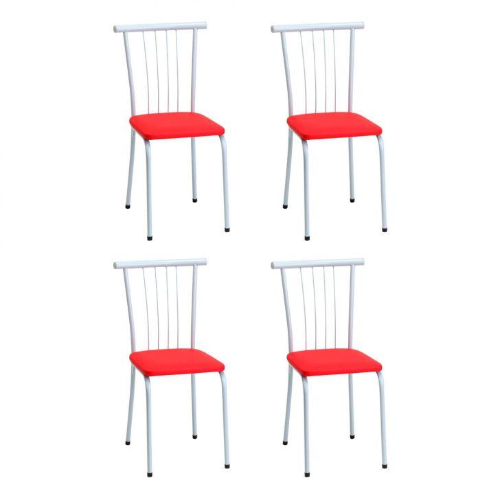Conjunto 4 Cadeiras 332 Vermelho Criativa