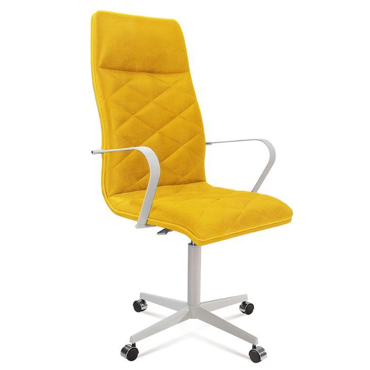 Cadeira de Escritório Diretor Jobs Suede Amarelo