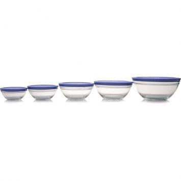 Conjunto Potes de Vidro Azul 5 pçs Euro com Tampa
