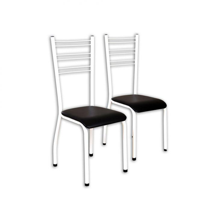 Conjunto 2 Cadeiras V Estofado Preto Tubo Branco