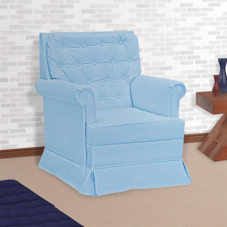 444ebd5303084 Poltrona Amamentação Giulia com Balanço sem Puff Corino Azul