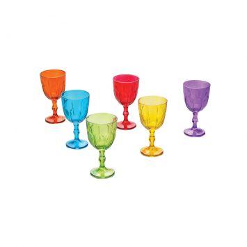 Jogo 6 Taças De Vidro Faces Coloridas 300Ml Lyor 6105