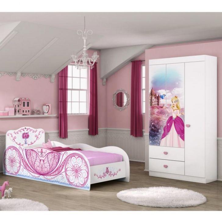 24eeb0ec8a Guarda Roupa e Cama Infantil Carruagem Branco Rosa Móveis Estrela