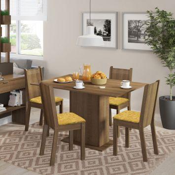 Conjunto de Mesa com 4 Cadeiras Lexy Rustic e Tecido Palha Madesa LEXY