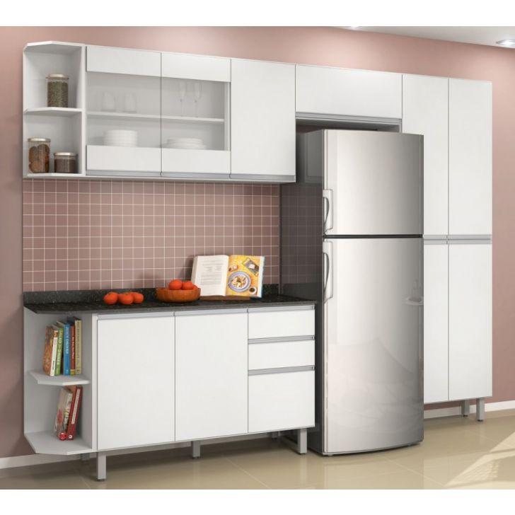 384f138ff Cozinha Completa Modulada Branco em MDF 6 Módulos Milani