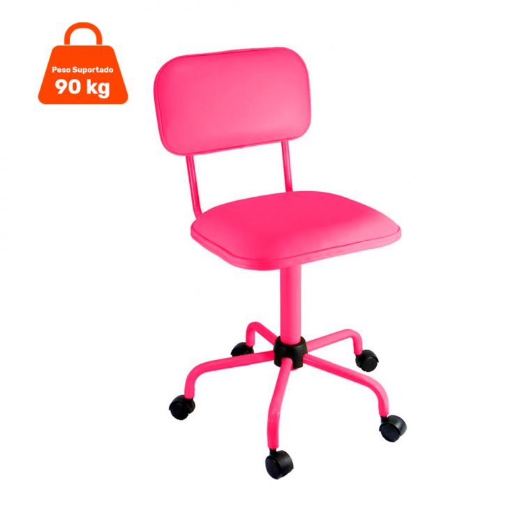 Cadeira de Escritório Secretária Color Pistão Fixo Corano Rosa