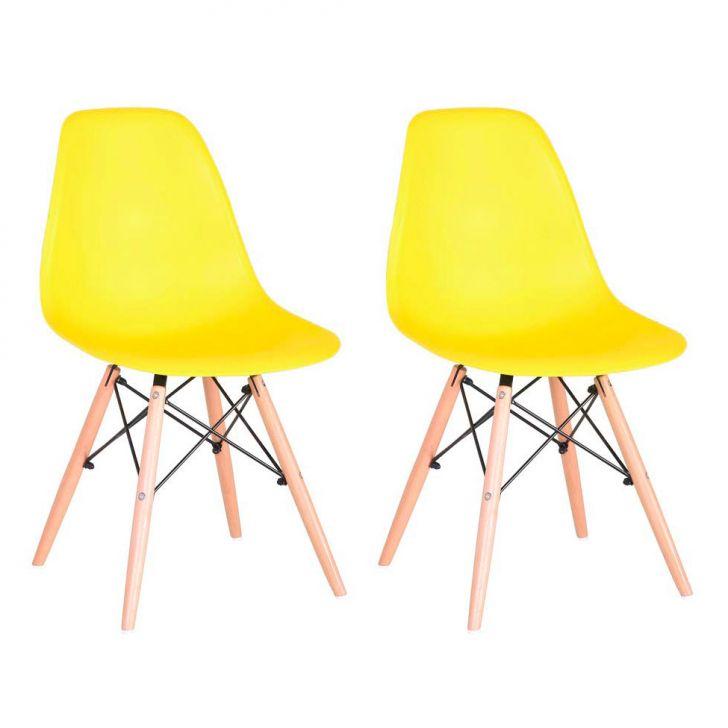 Conjunto com 2 Cadeiras Eames Premium Amarela Base Madeira