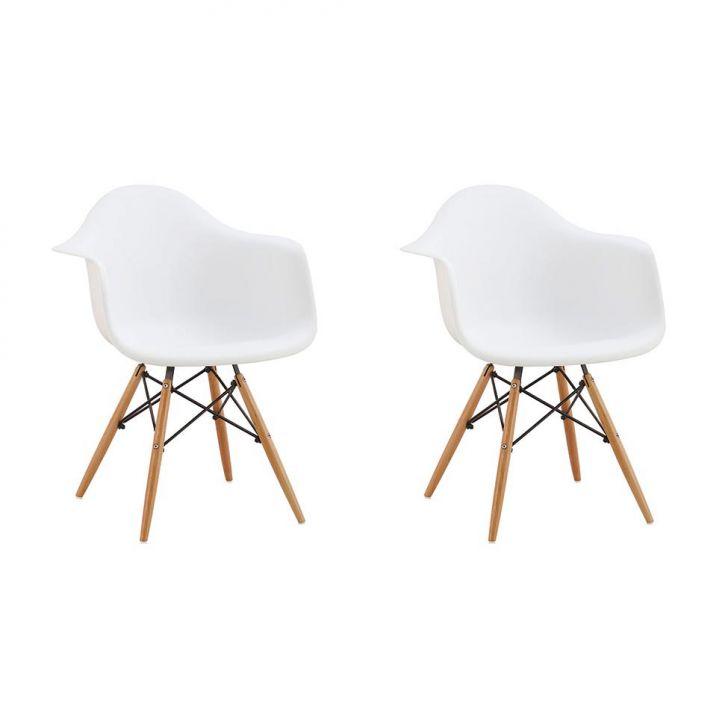 Conjunto com 2 Cadeiras Eames Premium com Braço Branca Base Madeira