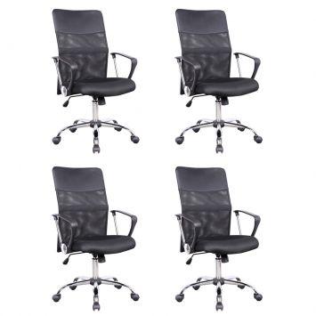 Conjunto com 4 Cadeiras de Escritório Vancouver Preta