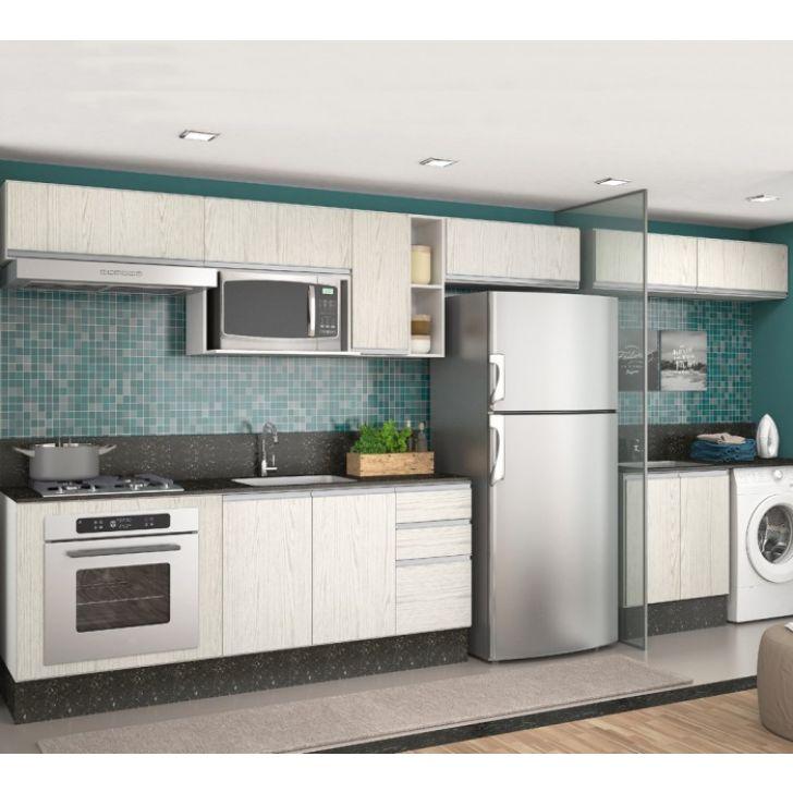 40f700955 Cozinha Completa Modulada Branco Arezzo 100% MDF 11 Módulos Nicioli