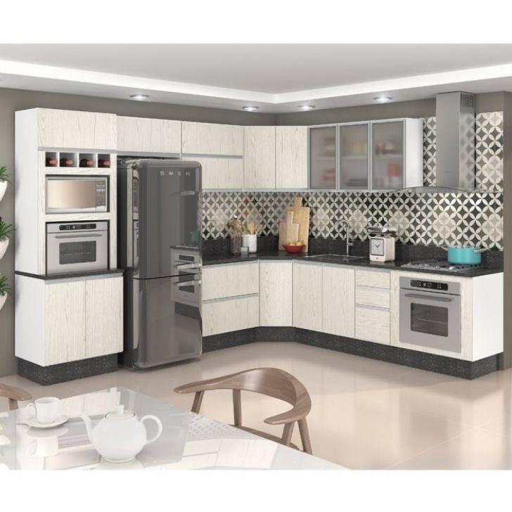 Cozinha Completa Modulada Branco Arezzo 100 Mdf 9 Módulos Nicioli