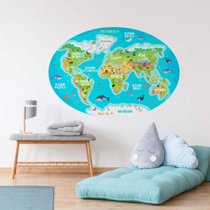 c6fc01df7 Adesivo Mapa Mundi Infantil para Quarto 106x72cm