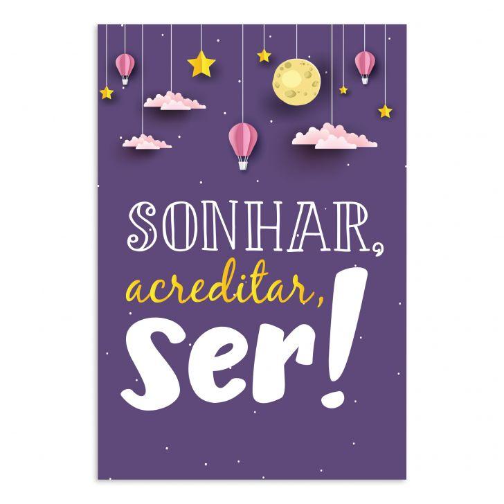 Placa Mdf Infantil Frase Menina Sonhar Acreditar