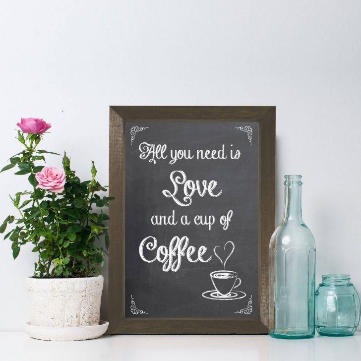 46eaee0b58 Quadro Frase Amor e Café 22x32cm Moldura Marrom