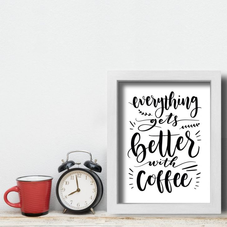 5e35878117 Quadro Frase Café Better With Coffee 33x43cm Moldura Branca