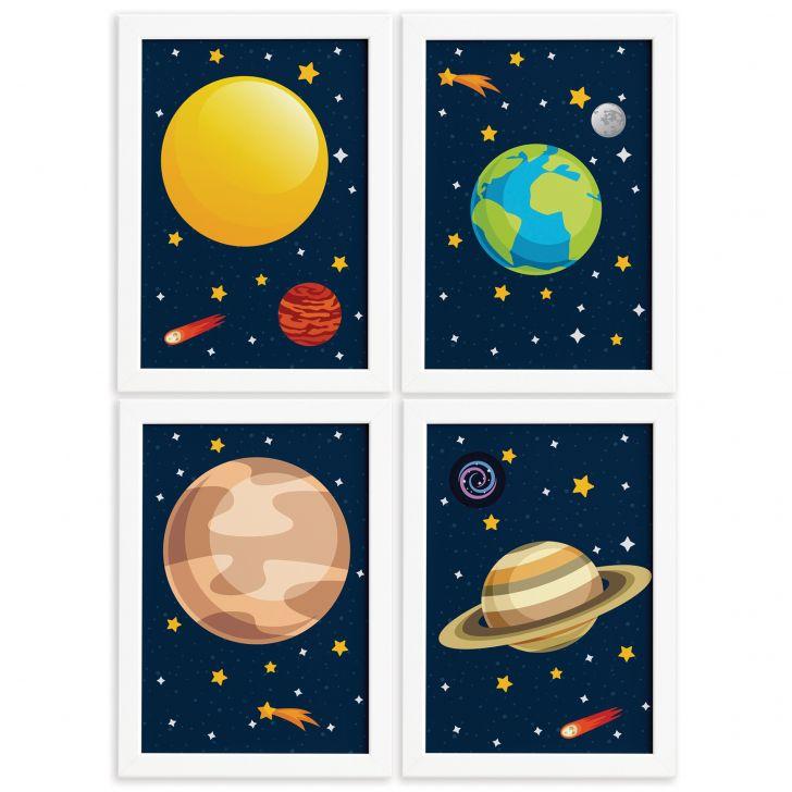 f9d3d1570 Quadros para Quarto Infantil Sistema Solar Planetas Kit 4un