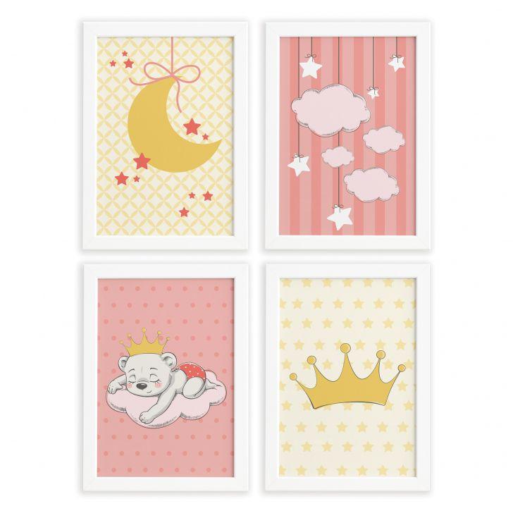 dd363ce0c Quadros para Quarto de Bebê Ursinha Princesa Kit 4un