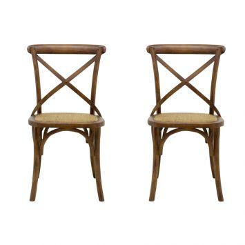 Conjunto de 2 Cadeiras Katrina Marrom Escuro
