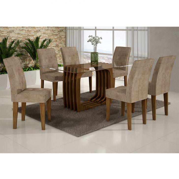 Conjunto de Mesa Monalisa com 6 Cadeiras Viena Ypê e Animalle Chocolate