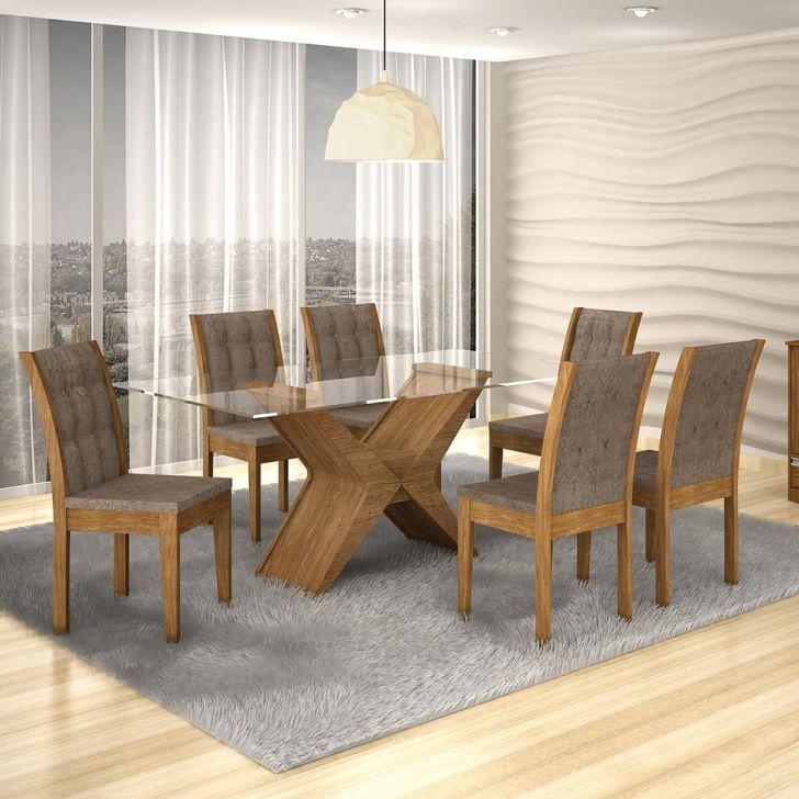 Conjunto de Mesa Tarsila 1.8 com 6 Cadeiras Laguna Ypê e Suedi Amarelo 1.8 com...