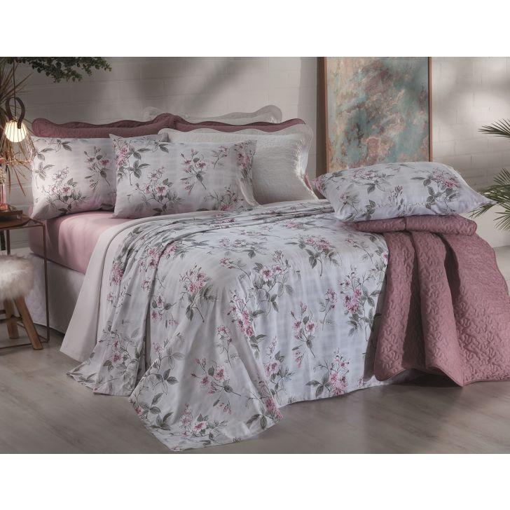 5053cdb1c Jogo de cama Casal Santista 150 fios 100% algodão - Florence