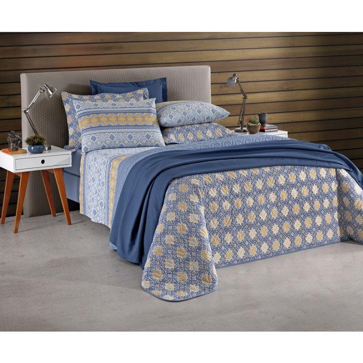 43d10621a9 Jogo de cama Queen Prata 150 fios 4 peças Aline Azul - Santista
