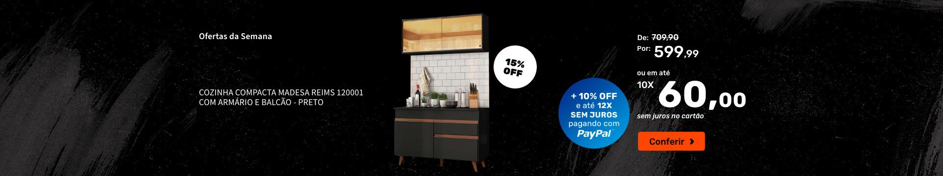 Cozinha Compacta Madesa Reims 120001 com Armário e Balcão - Preto - Ofertas especiais