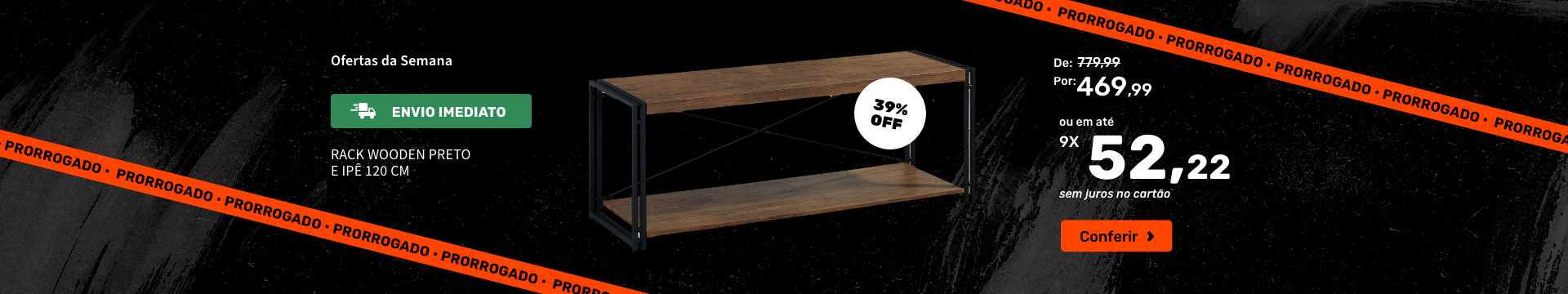 Rack Wooden Preto e Ipê 120 cm