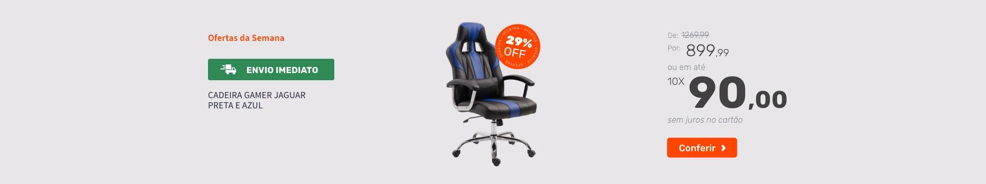 Cadeira Gamer Jaguar Preta e Azul - Ofertas especiais