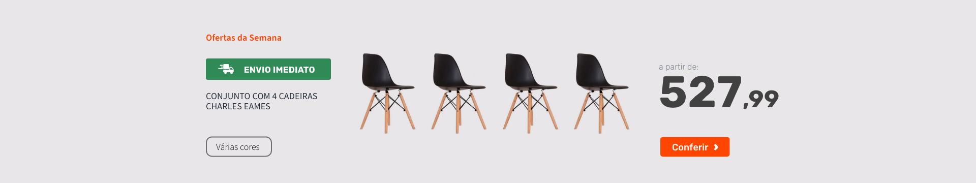 Conjunto com 4 Cadeiras Charles Eames - Ofertas especiais