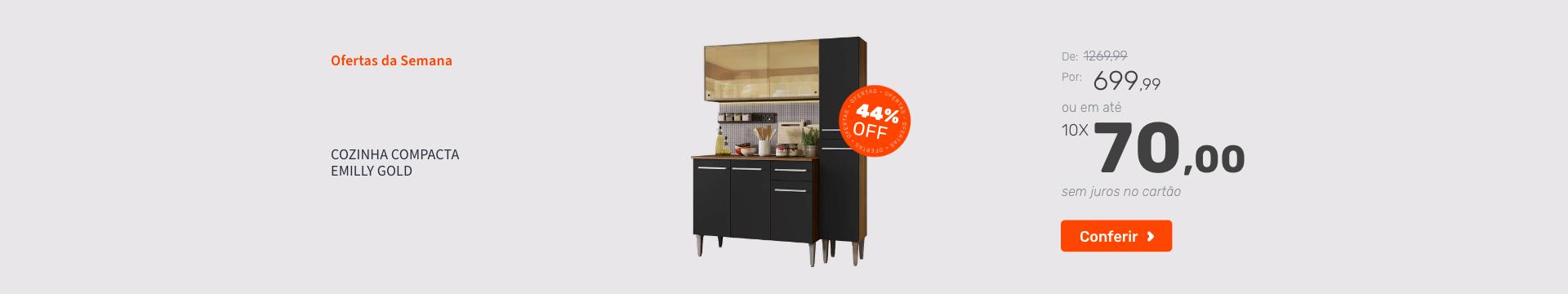 Cozinha Compacta  Emilly Gold - Ofertas especiais