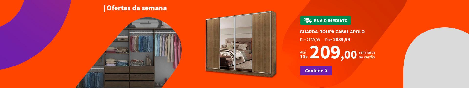 Guarda-Roupa Casal Apolo com Espelho - Ofertas especiais