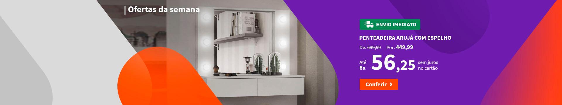 Penteadeira Arujá com Espelho Branco - Ofertas especiais