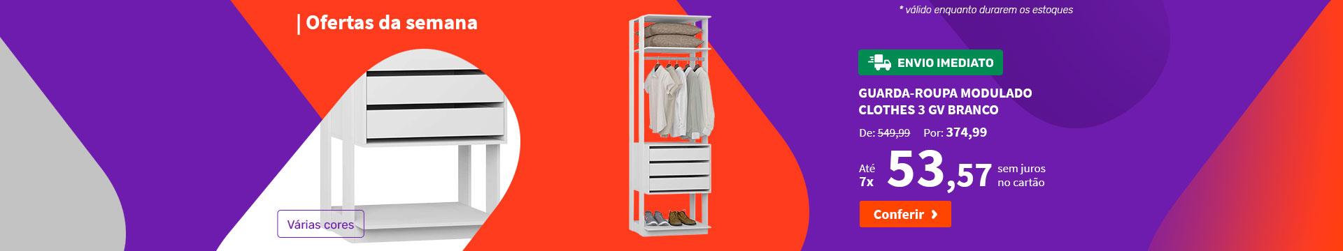 Guarda-Roupa Modulado Clothes 3 GV Branco - Ofertas da semana