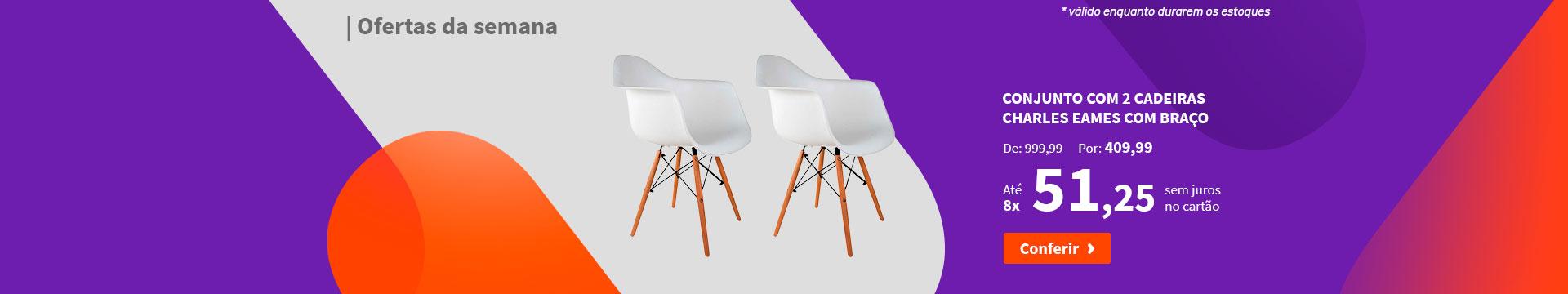 Conjunto com 2 Cadeiras Charles Eames com Braço - Ofertas da semana