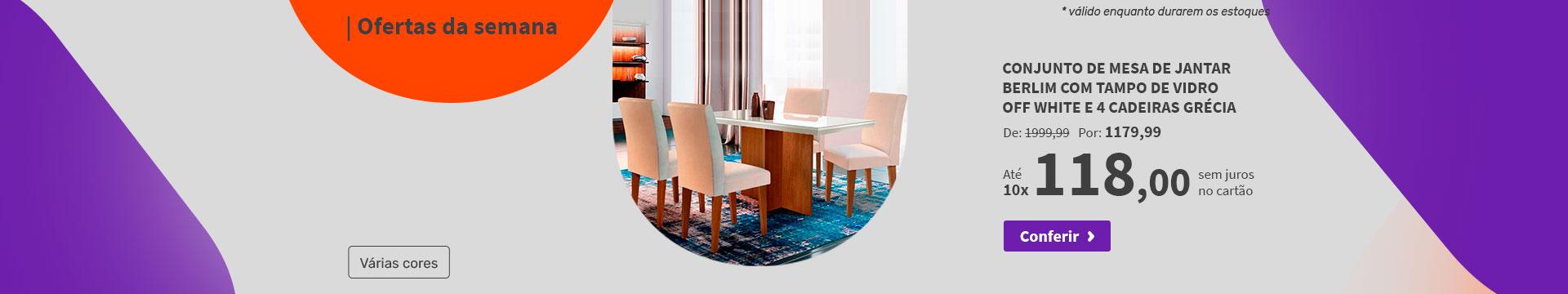 Conjunto de Mesa de Jantar Berlim com Tampo de Vidro Off White e 4 Cadeiras Grécia - Ofertas da semana
