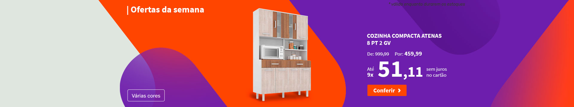 Cozinha Compacta Atenas 8 PT 2 GV - Ofertas da semana